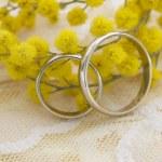 Wedding arrangement with mimosa flowers — Stock Photo #11281781