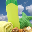 Summer equipment on the beach, holiday concept - Stock Photo
