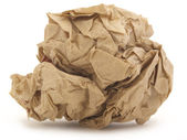 Crumpled paper isolated over white — Stock Photo