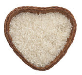Rice in the heart shape dish — Stock Photo