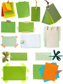 Green notes and tags collection — Stock Photo