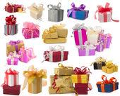 Duży zbiór pięknych prezentów — Zdjęcie stockowe