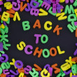 Stock Photo: Back to School title written of rubber letters on black background