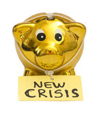 Piggy bank with New Crisis note — Stock Photo
