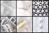 Collage of sewing equipment — Stock Photo