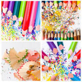 Colored pencils with shaving — Stock Photo