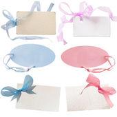 Bebek kız ve erkek bebek için hediye etiketleri — Stok fotoğraf