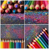 Renkli kalemler kolaj — Stok fotoğraf