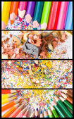 Collage of colored pencils — Stock Photo