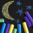 Painted night on chalk board — Stock Photo