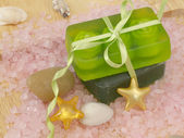 Green soaps with ribbon on salt with stars and shells — Foto Stock