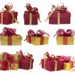 Collection of gold and red gifts — Stock Photo #11330223