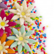 Sweet floral candies background — Stock Photo