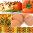 Pasta collage, italian pasta with meat and tomato - Stock Photo