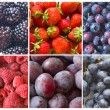 Collage of blue and red fruit - Stock Photo