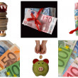Collage of euro money — Stock Photo