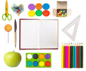 Equipment for school, various tools isolated on white, education concept — Stock Photo