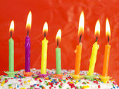 Burning candles on the cake — Foto Stock