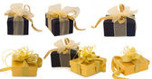 Collection of beautiful gift boxes with bows isolated on the white background — Stockfoto