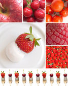 Collage of red fruits and vegetables — Stock Photo