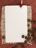 Coffee beans on the textile background with the place for your text — Stock Photo
