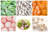 Collage of vegetables for salad — Stock Photo
