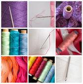 Collage van naaien apparatuur — Stockfoto
