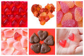 Collage of various hearts — Stock Photo