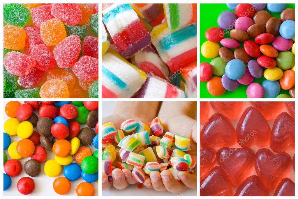 多彩糖果的抽象拼贴画– 图库图片