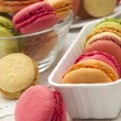 Macaroons on the lace — Stock Photo