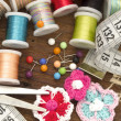 Sewing material with place for your text - Stock Photo