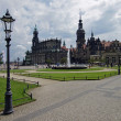 Panoramaview of the old town of Dresden - Stock Photo