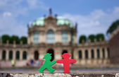 East german famous traffic light figures in the Zwinger in Dresden — Stock Photo