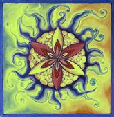 Mandala sarı yeşil çiçek — Stok fotoğraf