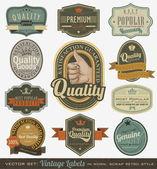 Etichette più popolari e qualità premium vintage. — Vettoriale Stock
