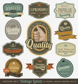 Vintage premium quality and most popular labels. — Stock vektor