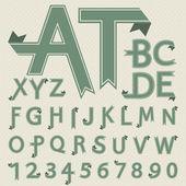 Vector de papel doblado letras y números de estilo retro — Vector de stock