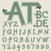 Vektör katlanmış kağıt harf ve rakam retro tarzı — Stok Vektör