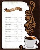 Diseño de menú de café — Vector de stock