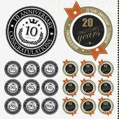 Carte e segni anniversario vector design — Vettoriale Stock