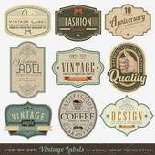 Retro vintage štítky — Stock vektor