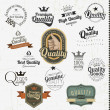 Vintage premium quality labels and inscriptions collection — Imagens vectoriais em stock