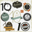 10 years anniversary signs and cards vector design — Imagens vectoriais em stock