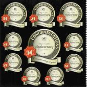 周年記念サインとカード ベクトル デザイン — ストックベクタ