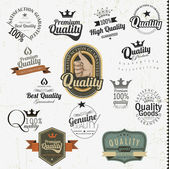 Vintage premium quality labels and inscriptions collection — Stock Vector