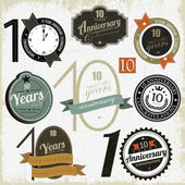 10 years anniversary signs and cards vector design — Vetor de Stock
