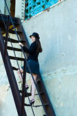 Business woman on the stairs — Stock Photo