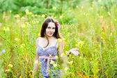 Among the flowers — Stock Photo