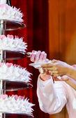 Gelin ve damat elleri bir düğün pasta bir dilim kes. — Stok fotoğraf