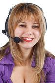 Operador de mujer joven con auriculares — Foto de Stock